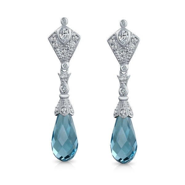 Bling Jewelry Briolette Light Blue Gl Cz Dangle Earrings Silver