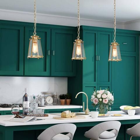 "Mid-Century Modern Hanging Pendant Lighting Fixture Golden Ceiling Lamp for Kitchen - W7.5""x H11"""