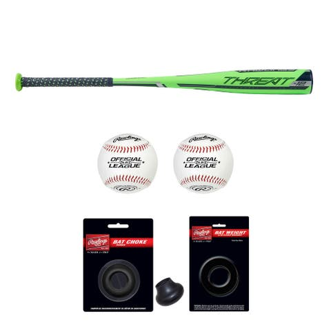 "Rawlings 2019 Threat USA Baseball Bat (29""/17 oz) with Accessory Bundle"