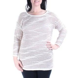 INC $80 Womens 3400 Ivory Jewel Neck 3/4 Sleeve Casual Sweater XL B+B