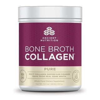 Ancient Nutrition Bone Broth Collagen Pure - 30 Servings - Superfood - Type I, II, III Collagen - Paleo-Friendly