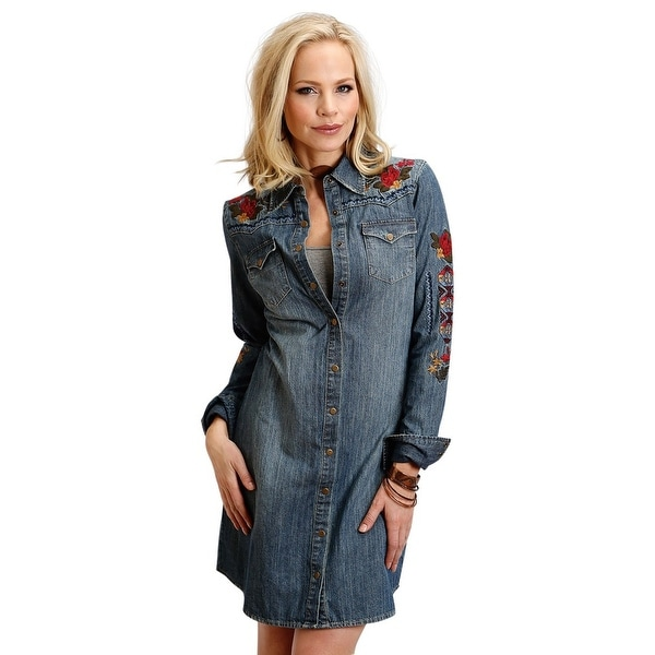 7e4025ccd6b Shop Stetson Western Dress Womens L S Denim Snap Blue - Free Shipping Today  - Overstock - 18414551