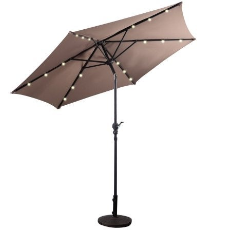 Costway 9ft Patio Solar Umbrella LED Patio Market Steel Tilt w/ Crank Outdoor (Tan)