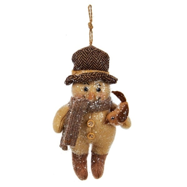 """6"""" Decorative Brown Snowman with Knit Scarf Holding a Bird Christmas Ornament"""