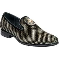 Stacy Adams Men's Swagger Studded Loafer Black/Gold Studded Fabric
