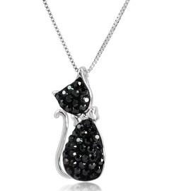 Amanda Rose Sterling Silver Black Crystal Cat Pendant made with Swarovksi Crystals