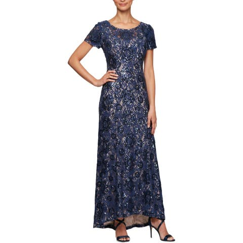 Alex Evenings Womens Petites Evening Dress Lace Sequined - Navy/Nude - 14P