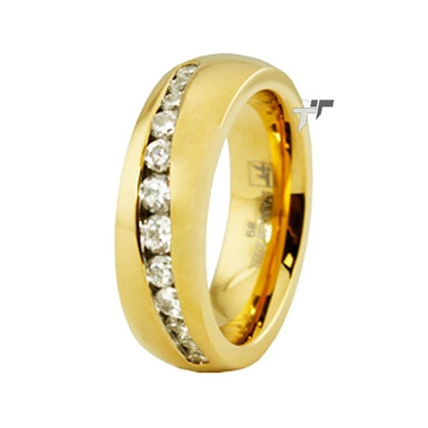 Gold Plated Stainless Steel Ring w/ CZ
