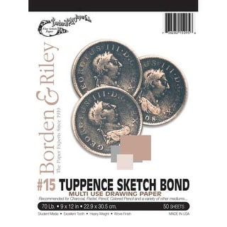 "Borden & Riley - #15 Tuppence Sketch Bond Pad - 24"" x 36"" -�Tape-Bound, 50 Shts./Pad"