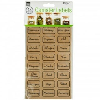 Clear Kitchen Pantry Preprinted Storage Canister Labels Set - 48 Stickers - Tag and Organize Spices, Dry Goods and More