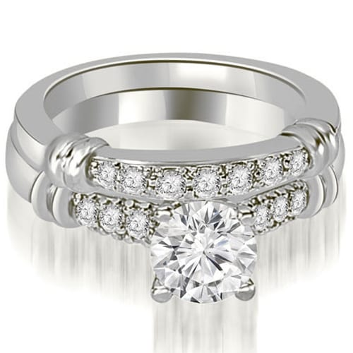 1.08 cttw. 14K White Gold Round Cut Diamond Engagement Set