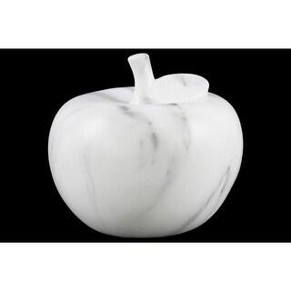 Marbleized Apple Figurine In Ceramic, Large, White
