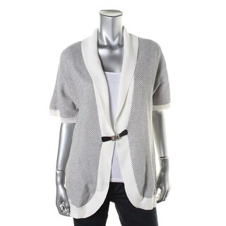 Calvin Klein Womens Textured Shawl Collar Cardigan Sweater