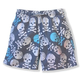 Azul Boys Grey Blue Skull Print Hamlet Drawstring Swimwear Shorts