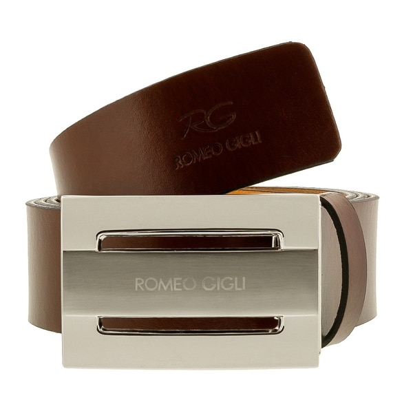 Romeo Gigli C974/35S Brown Leather Adjustable Mens Belt