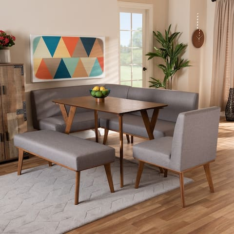 Odessa Grey Fabric and Walnut Finished Wood 5-PC Dining Nook Set