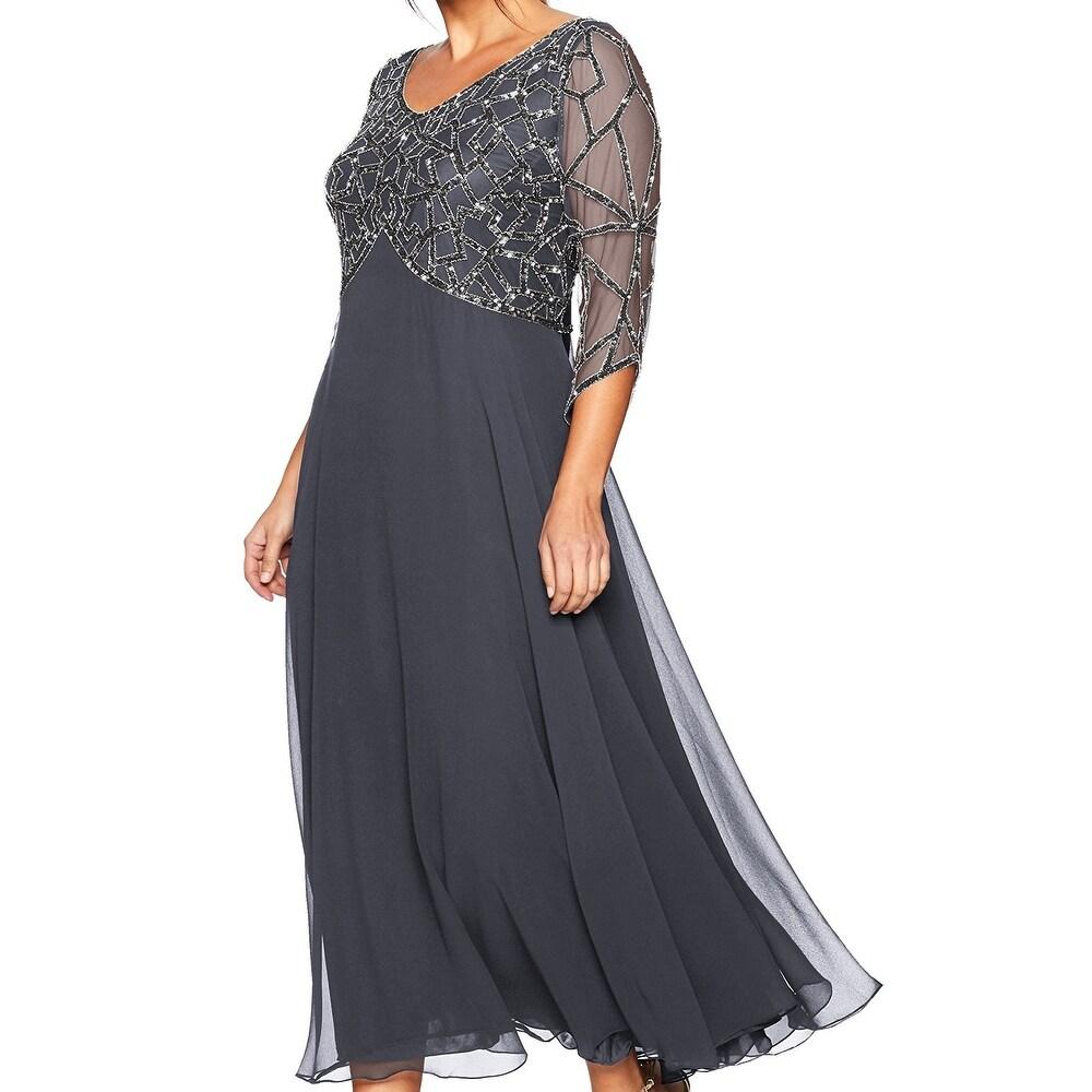 J Kara Womens Dress Slate Gray Size 16W Plus Geo Embellished Mesh Gown