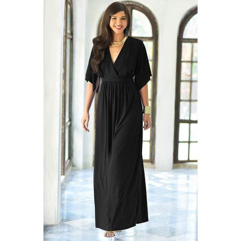 KOH KOH Womens Long Kaftan Caftan Short Sleeve Empire Waist, Black, Size Medium