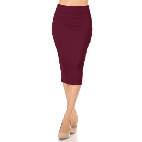 Women's Casual Solid High Waist Midi Pencil Skirt