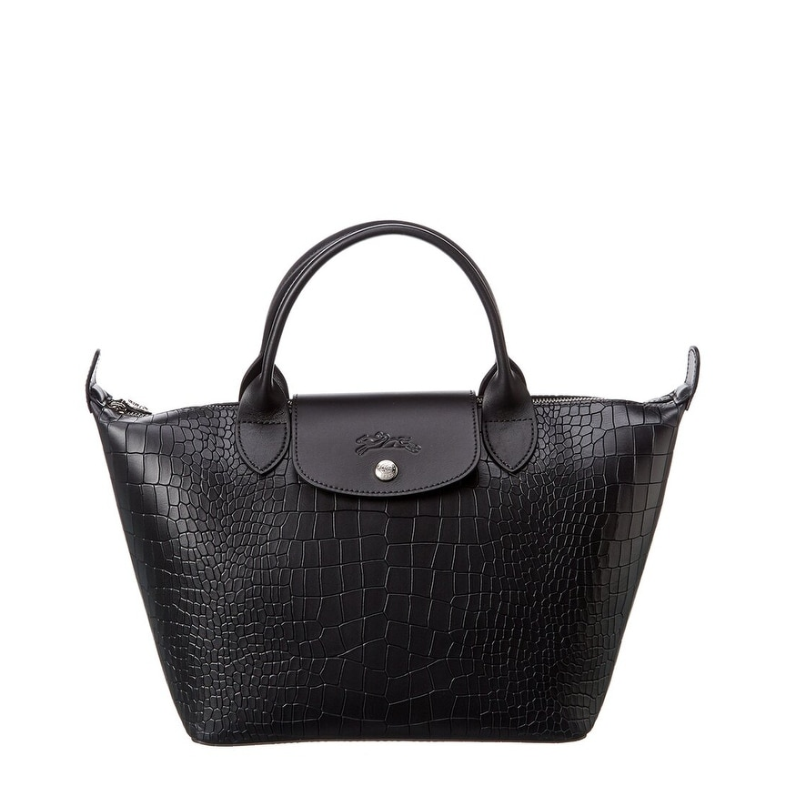 Longchamp Le Pliage Cuir Small Croc-Embossed Leather Short Handle Tote