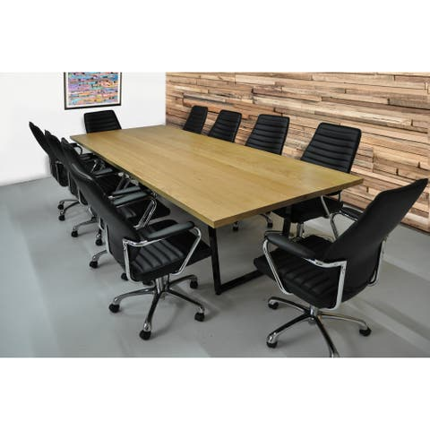SOLIS Solidum Solid Wood Conference Table Set With 10 Office Chairs