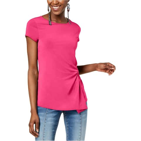 I-N-C Womens Ruching Basic T-Shirt, Pink, PM