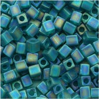 Miyuki 4mm Glass Cube Beads 'Transparent Frosted Teal AB' 2405FR 10 Grams