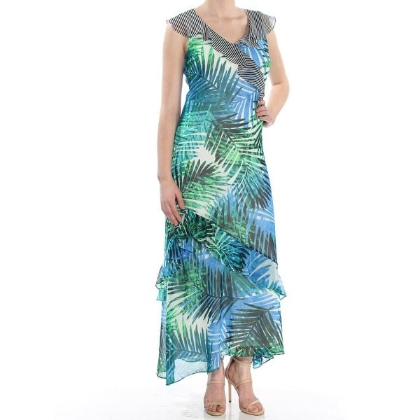 018cf84d7b6b2 CALVIN KLEIN Womens Green Printed Skinny Strap Ruffle Sleeveless V Neck  Maxi Sheath Dress Size: 8