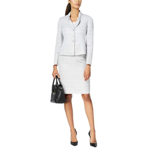 Le Suit Womens Bow-Collar Skirt Suit