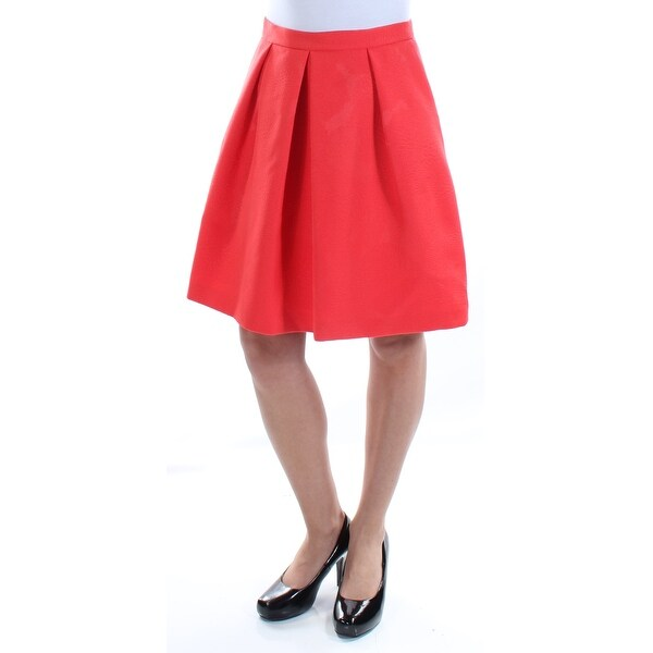 ANNE KLEIN Womens Red Above The Knee Pleated Skirt Size: 2