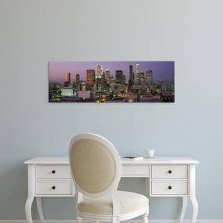 Easy Art Prints Panoramic Images's 'Skyscrapers lit up at dusk, City Of Los Angeles, California, USA' Canvas Art