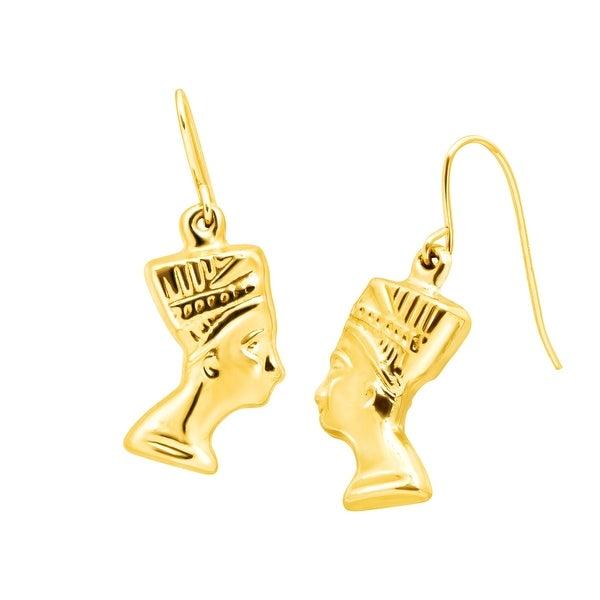 Just Gold Egyptian Queen Nefertiti Drop Earrings in 14K Gold