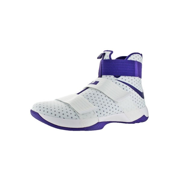 49f1bcbed8f Nike LeBron Soldier 10 Men  x27 s Mesh High-Top Basketball Shoes White