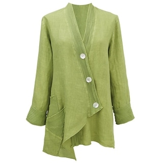 Women's Tunic Jacket - Linen With Ribbed Trim & Dip Hem