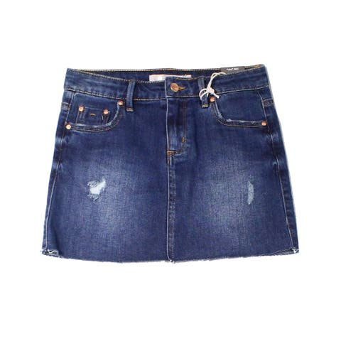 Tractr Girls Skirt Blue Size Large L Denim Distressed Button-Front