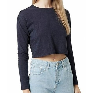 Top Shop NEW Navy Blue Cropped Women's Size 2 Long Sleeve Tee T-Shirt