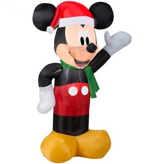 Gemmy 37342 Christmas Airblown Inflatable Mickey Mouse with Santa Hat, 3.5'