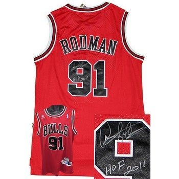 best website c960c 35ecb Dennis Rodman signed Chicago Bulls Red Adidas Swingman Jersey HOF 2011  Steiner Hologram