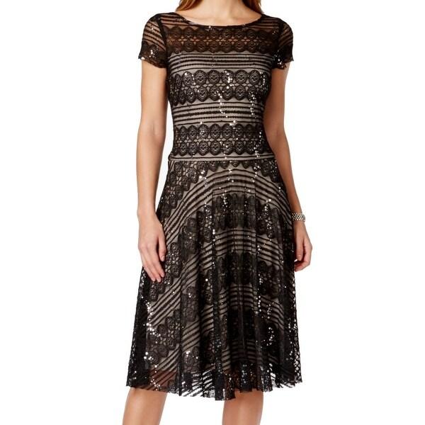 Shop Sangria New Black Beige Womens Size 6 Sheath Lace Sequin Dress