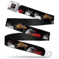 Street Fighter Logo Full Color Black Street Fighter Ryu Fireball Pose Seatbelt Belt