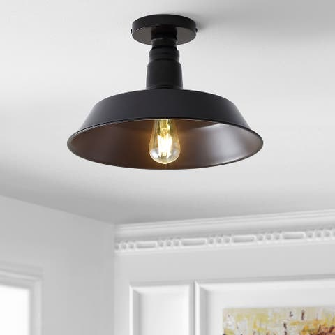 """Cassidy 14"""" LED Semi-Flush mount, Oil Rubbed Bronze by JONATHAN Y - Metallic"""