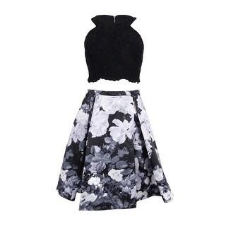 Xscape Women's 2PC Laced Crop Top & Floral Skirt Set - Black/Grey