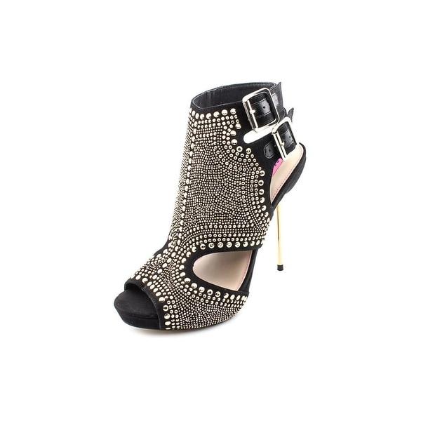 Betsey Johnson Poppy Women Open Toe Canvas Black Sandals