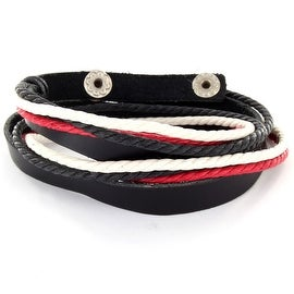 Black Leather Double Wrap Bracelet with Red Black and White Knots (8 mm) - 7.5 in