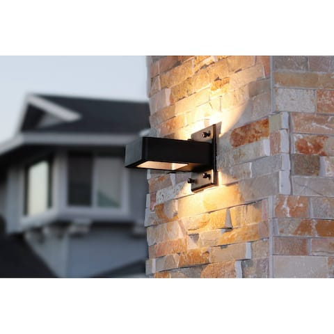 Euro Style Indoor/Outdoor Cast Aluminum LED Wall Lights, 2 Pack - Black Frame