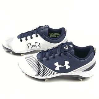 Kids Nike Boys UA W GLYDE ST Low Top Lace Up Baseball Shoes - White / Blue - 5.5 boys