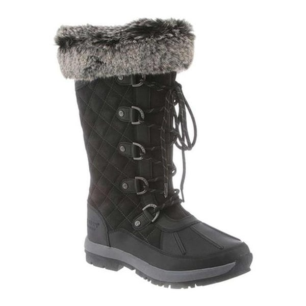 3b9afaf31 Bearpaw Women  x27 s Gwyneth Lace-Up Boot Black Grey Waterproof Quilted