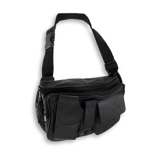 Black Leather Waist Bag with 3 Zip Compartments/3 Pouches