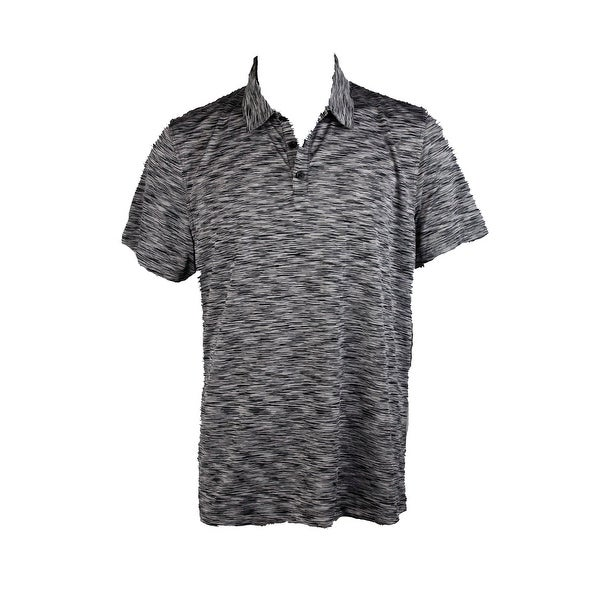 Shop Alfani Black Grey Tobin Marled Polo Shirt S Free