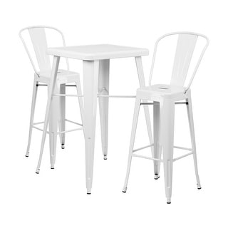 Offex White Metal Indoor-Outdoor Bar Table Set With 2 Barstools